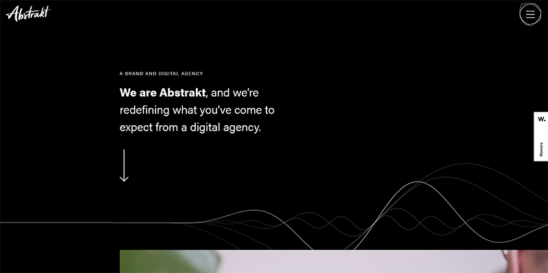 screenshot of abstrakt home page