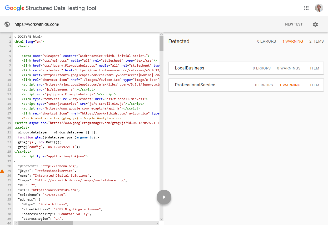 google structured data testing tool results screenshot